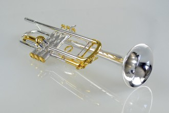 Temby Prestige Trumpet - Silver with 24K yellow gold trim